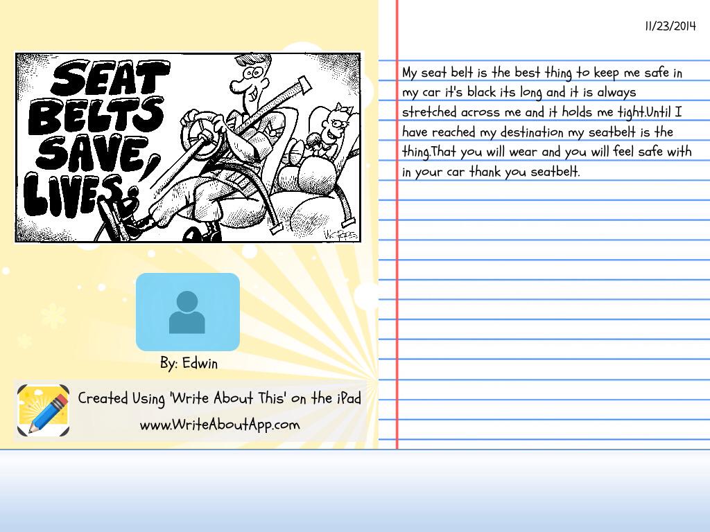 our creative writing rwa grade 4a seat belt project edwins story edwin s writing